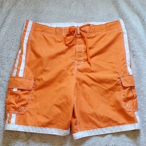 Joe Boxer swim trunks size large orange pockets